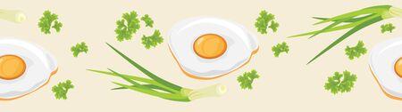 fried: Fried eggs. Seamless banner