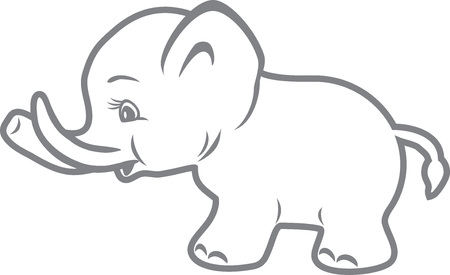mimic: Baby elephant. Outline drawing