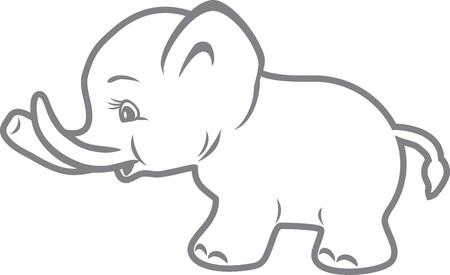Bebé elefante. Dibujo de esquema Foto de archivo - 66352448