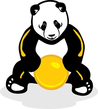 selva caricatura: Panda con una bola amarilla Vectores