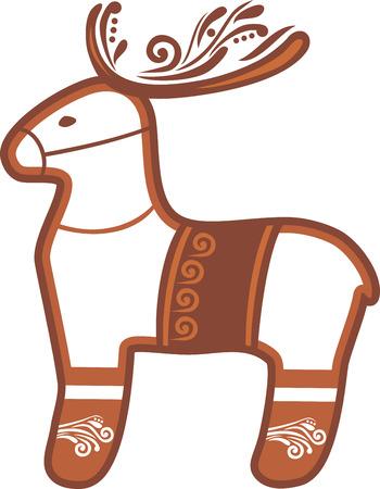 Reindeer. Christmas gingerbread Illustration