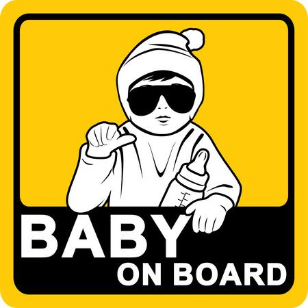 Baby an Bord. Aufkleber Vektorgrafik