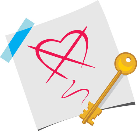 The key on a paper sheet Illustration