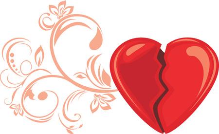 Broken heart, decorative element for design.