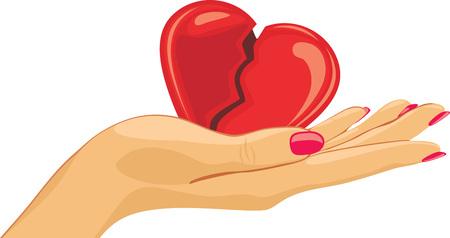 Broken heart in the female palm Illustration