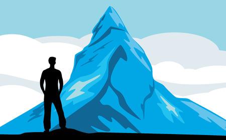 fantasize: Male silhouette on the mountain background Illustration