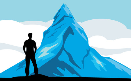 Male silhouette on the mountain background Illustration