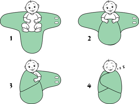 Baby swaddle blanket. Instructions for use