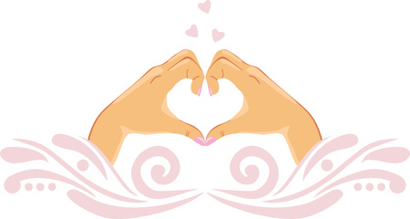 Female palms in the shape of heart. Icon for design