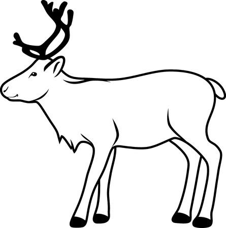 mule deer: Reindeer. Contour drawing