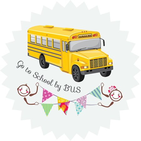 Go to school by bus illustration.
