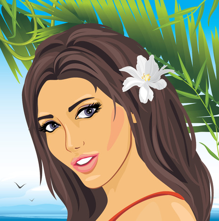 Portrait of a beautiful woman among palm branches