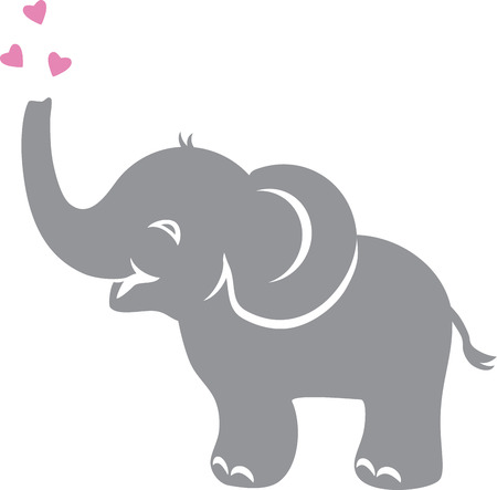 Funny baby elephant with hearts