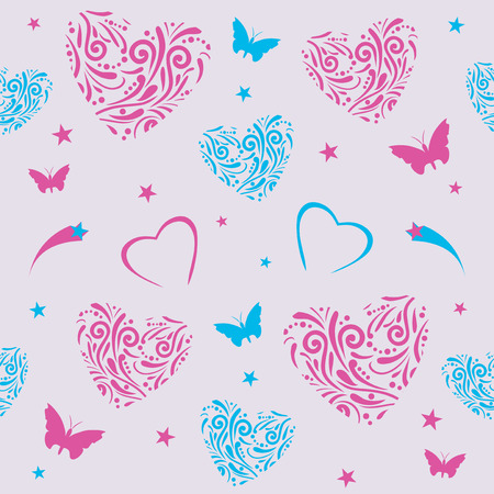 Seamless pattern with ornamental hearts. Illustration