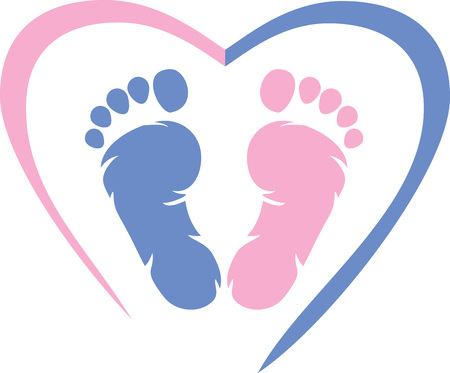 Multicolored footprint with heart icon Çizim