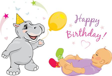 Funny hippo congratulates the baby on his birthday.
