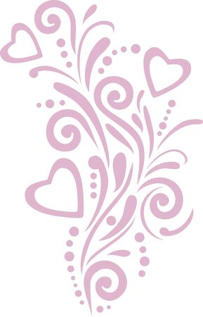 Pink ornamental element with hearts design