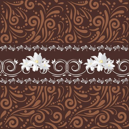 Brown seamless ornamental pattern with white flowers for design.
