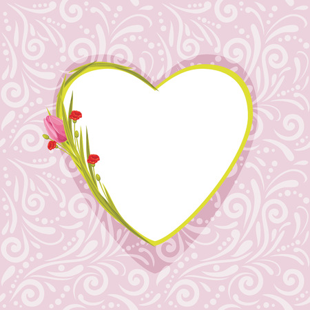Pink ornamental pattern with flowers for scrapbook.