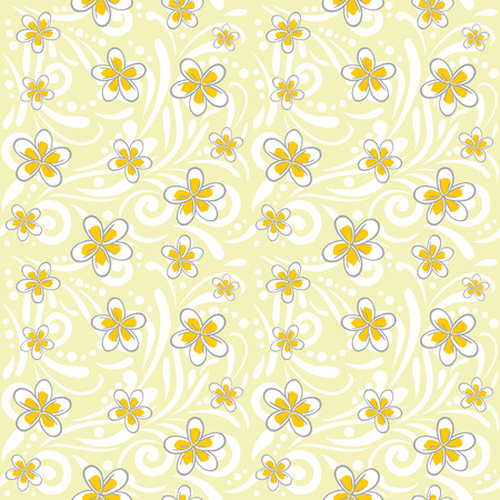 Seamless ornamental pattern with plumeria flowers