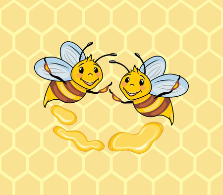 Two funny bees on the honeycomb background.