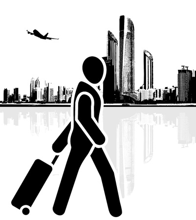 Tourist hurries to the airport Ilustrace