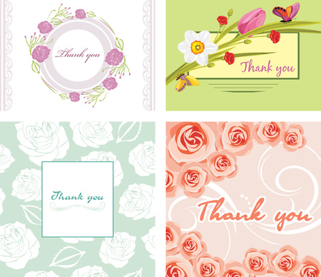 Four floral thank you cards