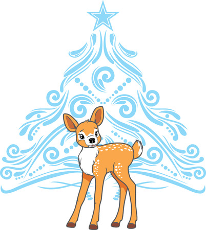 Cute baby deer with stylized blue christmas tree Ilustrace