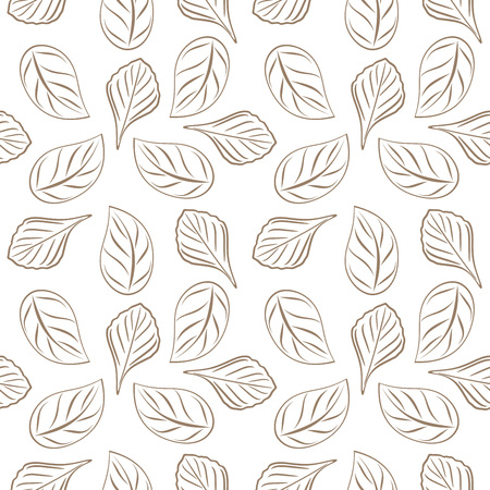 Seamless outlined leafy background for wrap design Stock Illustratie