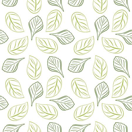 Nahtloser umrissener belaubter Hintergrund für Wrap-Design. Grüne Farbe
