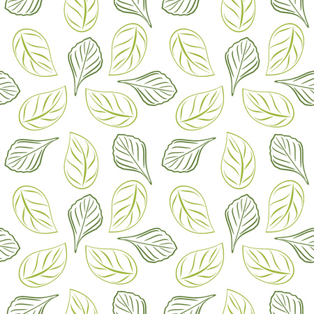 Seamless outlined leafy background for wrap design. Green color