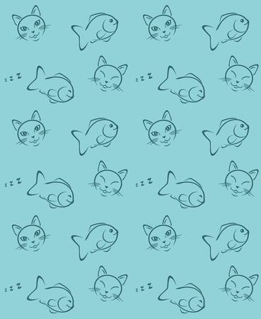 Funny cat and fish. Seamless pattern for wrapping  イラスト・ベクター素材