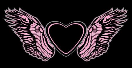 Angel wings on black background