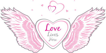 Angel wings with heart Illustration