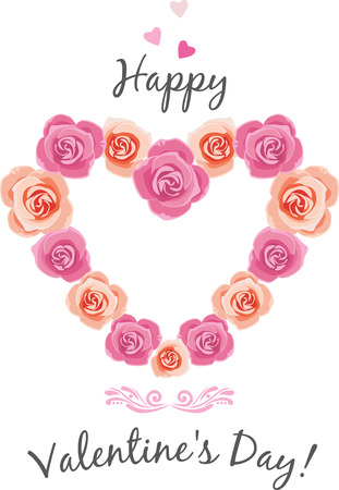 Heart shaped frame of pink roses Stock Illustratie