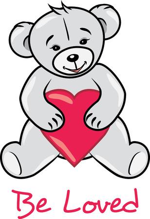 Teddy bear holding a heart. Be loved