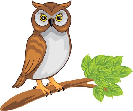 Cute owl sitting on a branch Vektoros illusztráció