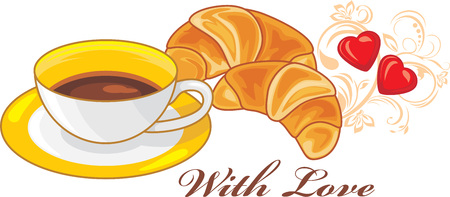 Coffee and croissants. With love Illustration