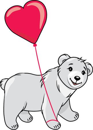 Teddy bear holding a heart shaped balloon Stock Illustratie