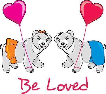 Teddy bears in love Stock Illustratie