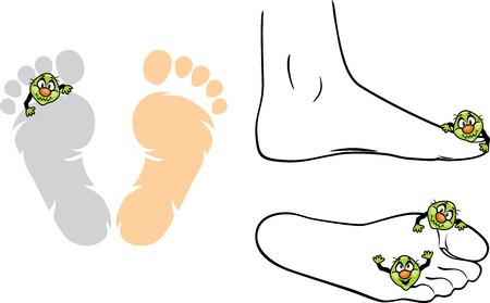 Microbes on the feet Illustration