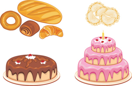 Bakery products, dumplings and cakes isolated on white Illustration