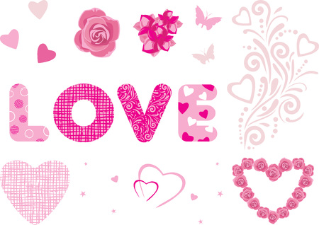 Decorative elements for Valentines Day design