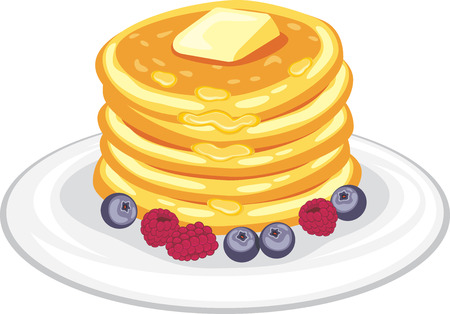 Stack of pancakes with honey, butter and berries