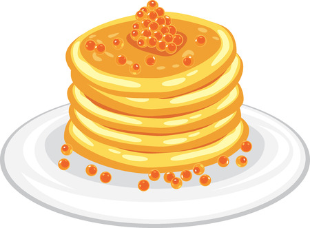 Stack of pancakes with red caviar