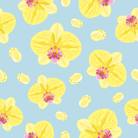 Blooming orchids. Seamless pattern for design