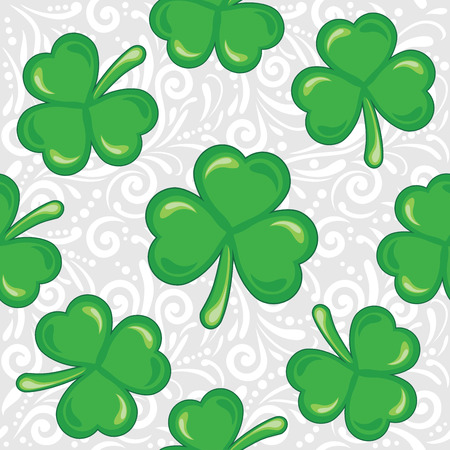 Seamless ornamental pattern with shamrocks