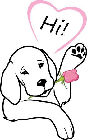 Retriever gives a rose and says hi