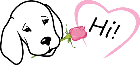 Retriever gives a rose and says hi. T-shirt design Stock Illustratie