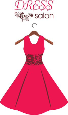 Red dress on hanger. Dress salon. Sign for fashion design